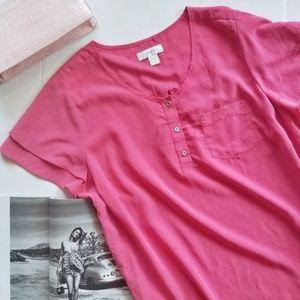 CJ Banks Pink Soft Flutter Sleeve Blouse 453